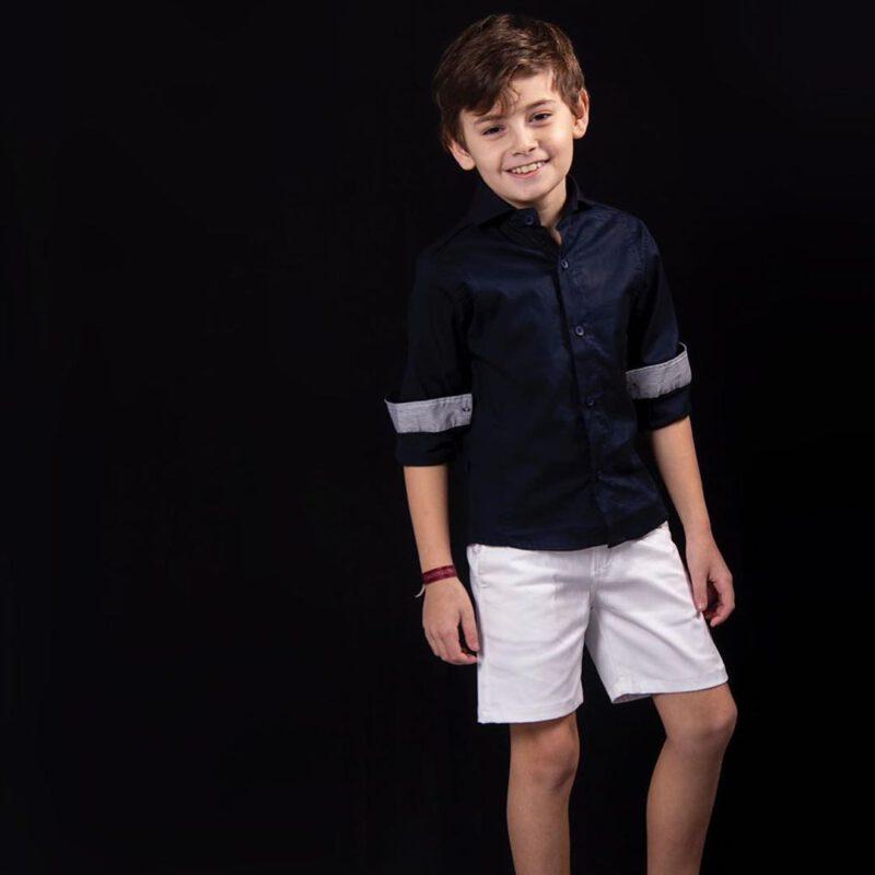 bermuda blanca y camisa para niño verano 2021