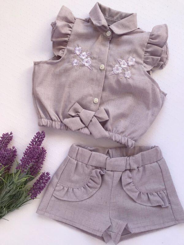 conjunto blusa y short lino beba cocomiel verano 2021