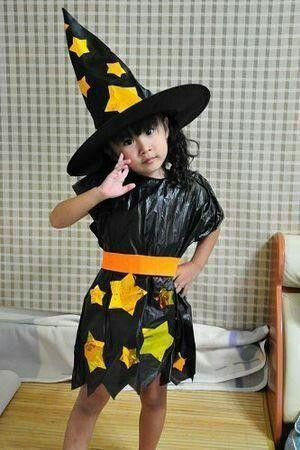 disfraz de bruja ecologico niña
