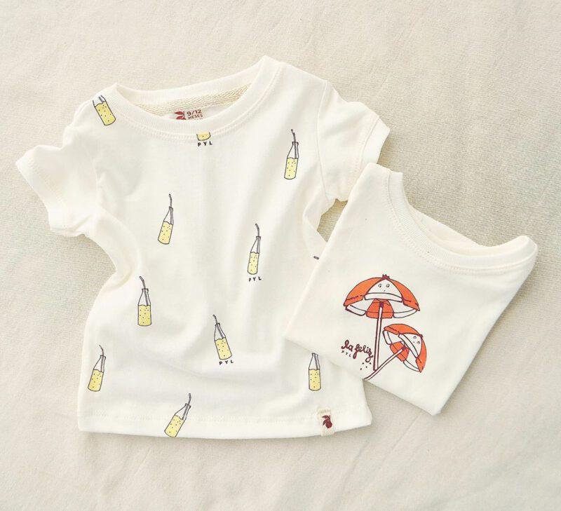 remera blanca con estampas de verano 2021 Pepa y limon