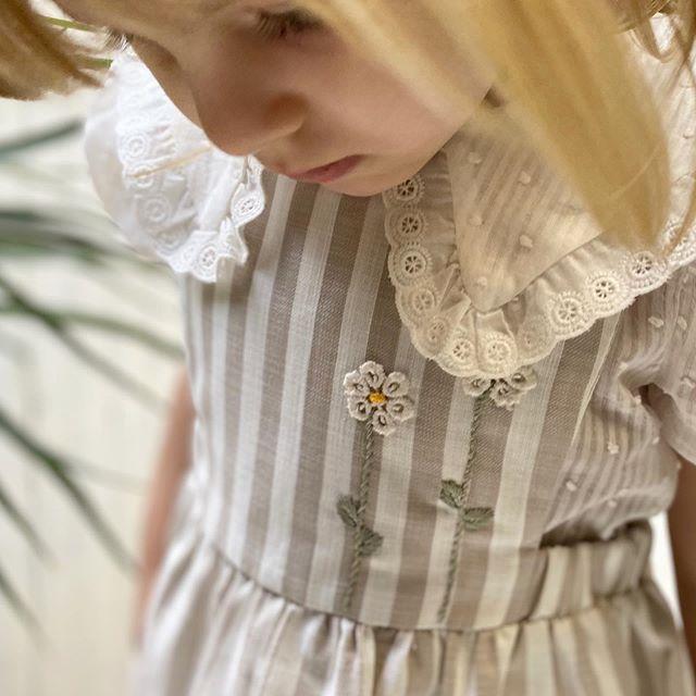 vestido lino a rayas para nena groweb verano 2021
