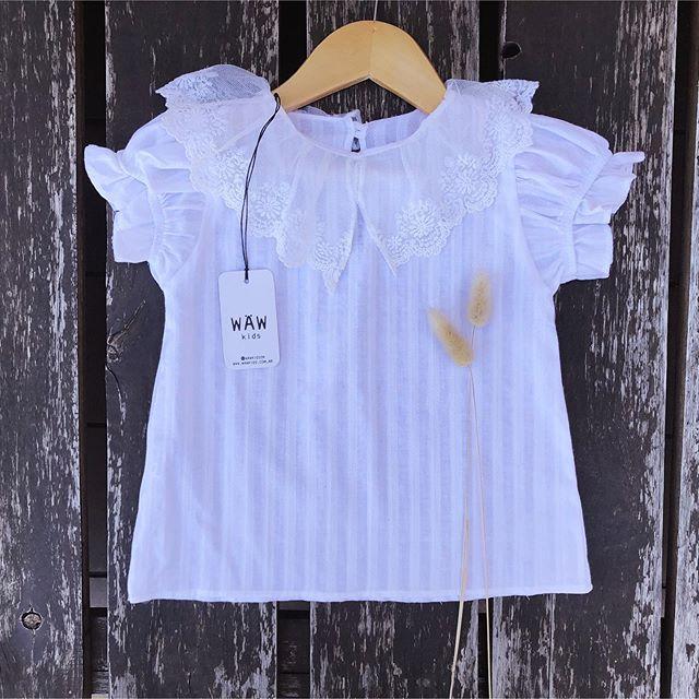 blusa blanca con cuello nina Waw verano 2021