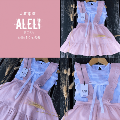 falda rosa con tiradores nina Waw verano 2021