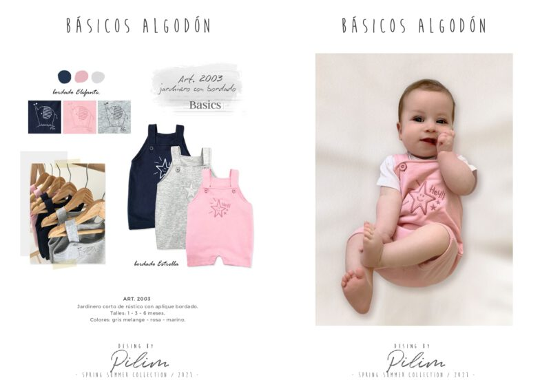 pilim verano 2021 jardinero algodon bebes