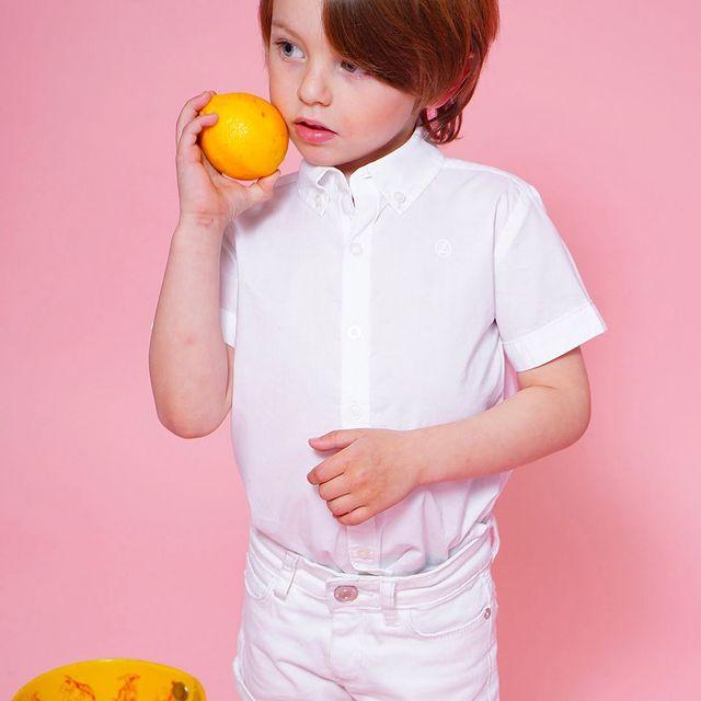 bermuda blanca y camisa nene little akiabara