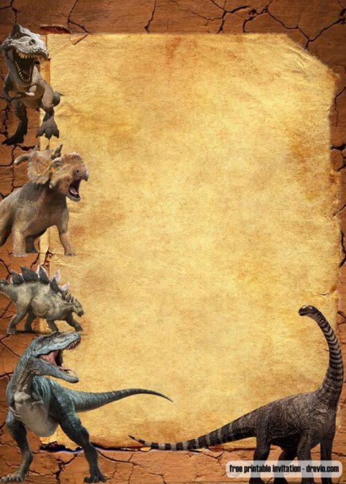 plantilla para tarjeta virtual invitacion cumpleanos dinosaurios
