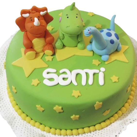 torta chica redonda de dinosaurio para ninos pequenos