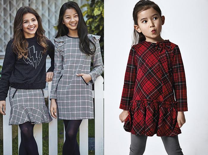 vestidos y faldas a cuadros para ninas invierno 2021