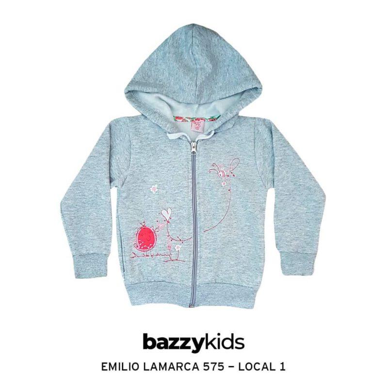 campera nena algodon bordada con capucha Bazzy kids invierno 2021