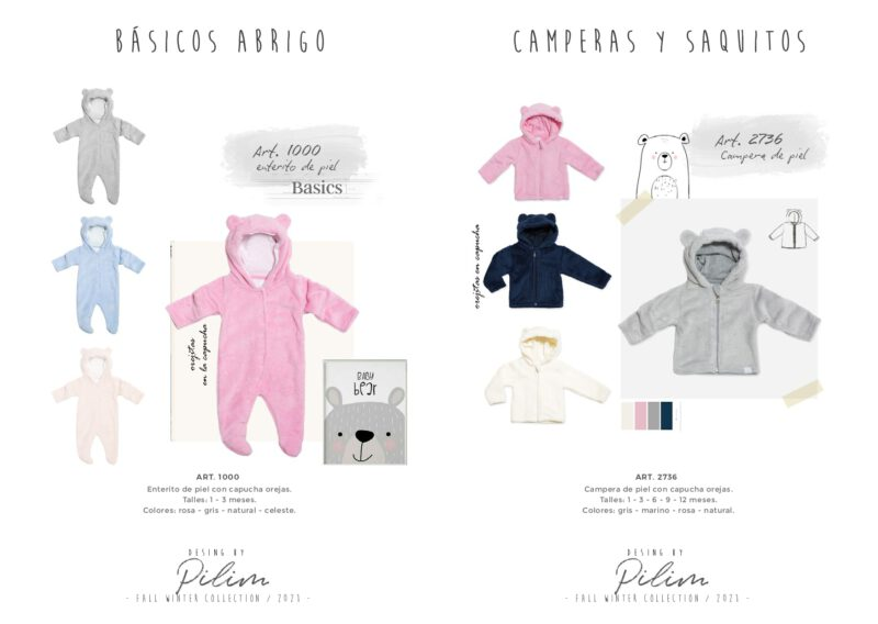 enterito y camperas con capucha bebe osito pilim invierno 2021