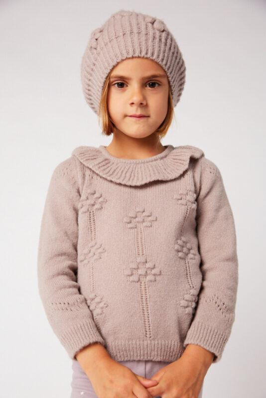 gorro y sweater en rosa viejo nina Pioppa invierno 2021