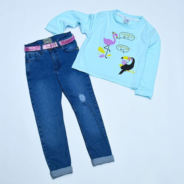 jeans y remera mangas largas topitos kids invierno 2021