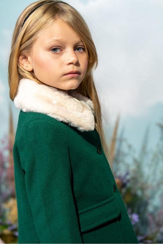 tapado verde para nina little akiabara invierno 2021