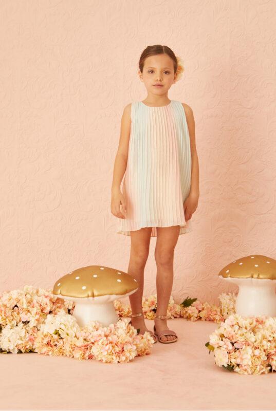 vestido plisado nina little akiabara verano 2022